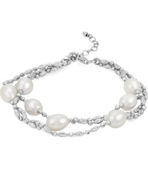 cultured freshwater pearl (7-8mm) double row beaded bracelet in sterling silver