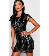 boutique loshangende jurk met pailletten en kapmouwen, zwart