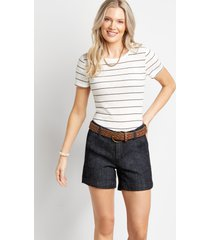 maurices womens dark wash belted 5in shorts by blue planet