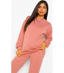zwangerschaps gewatteerde oversized sweater met stiksels, rust
