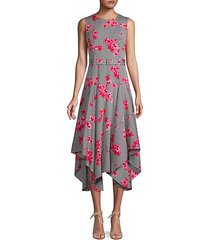 floral-print handkerchief fit-&-flare dress