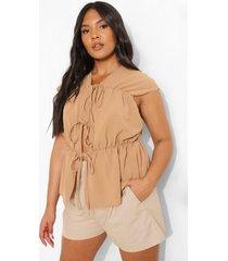 plus geplooide linnen blouse met strik, camel