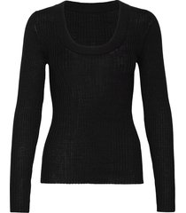 slfcosta new ls knit deep u-neck stickad tröja svart selected femme
