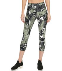 dkny sport logo-print cropped leggings