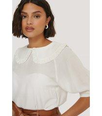 na-kd boho big collar blouse - white