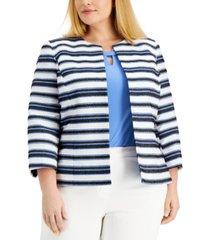 kasper plus size textured striped jacket