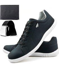 sapatenis touro boots 900 sw preto + cinto + carteira - preto - masculino - sintã©tico - dafiti