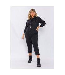 macacão plus size feminino lisamour jeans tipo utilitário