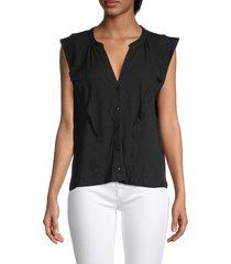 saks fifth avenue women's elsie sleeveless button-down shirt - black - size xl
