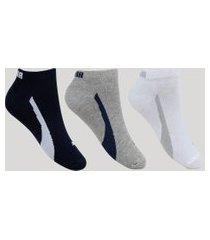 kit de 3 meias puma masculino cano curto multicor