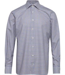 beige twill shirt overhemd casual blauw eton