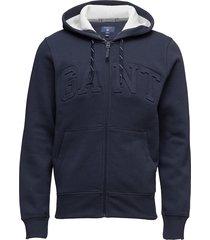 gant embossed full zip sweat hoodie hoodie trui blauw gant