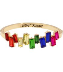 betsey johnson rainbow stone hinged bangle bracelet