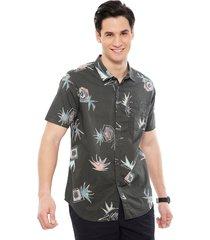 camisa billabong sundays floral ss gris - calce regular