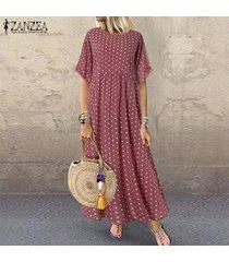 zanzea mujeres acampanado manga corta camiseta del verano vestido de lunares vestido maxi largo -rosado