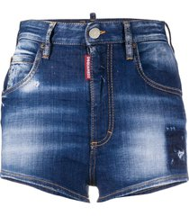 dsquared2 distressed denim hot pants - blue