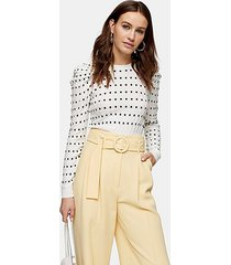 white and black square spot puff sleeve knitted sweater - ivory