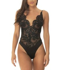 women's embroidered bodysuit with plunge neckline