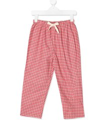 caramel chelsea checked trousers - red