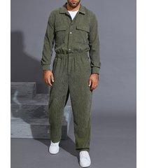 hombres otoño moda retro pana bolsillos dobles mono