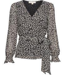 lux cat wrap top blouse lange mouwen zwart michael kors