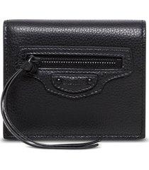 balenciaga neo classic black leather wallet with logo