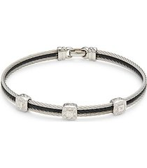18k white gold, multi-cable two-tone stainless steel & diamond bracelet