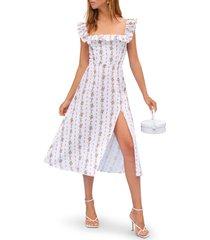 women's reformation amethyst floral ruffle neck linen midi dress, size 8 - white