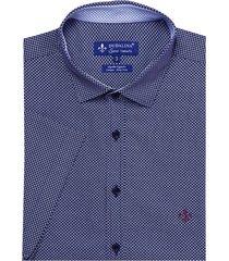 camisa dudalina manga curta tricoline estampa geométrica masculina (estampado, 7)