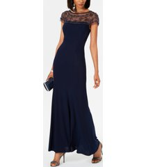 r & m richards beaded-trim a-line gown