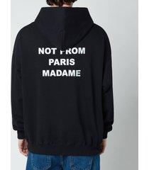 drôle de monsieur men's embroidered slogan hoodie - black - l
