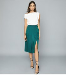 reiss cecilia - pleated twill skirt in teal, womens, size 12