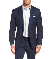 men's bonobos jetsetter slim fit stretch wool blazer, size 36 r - blue
