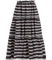 tiered high rise striped satin midi skirt