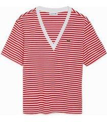 camiseta lacoste gola v feminina - feminino