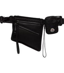 moncler pocket detail pouch belt - black
