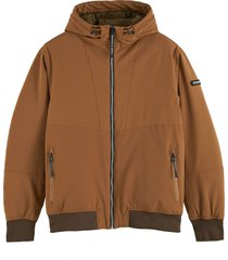 scotch & soda hooded quilted stretch-nylon jacket fawn