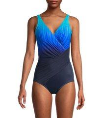 miraclesuit women's belle trois ombré one-piece swimsuit - twilight blue - size 18