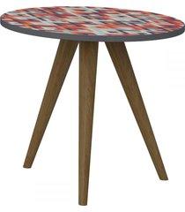 mesa de canto redonda 1005 retro espresso/estampa vermelha - bentec