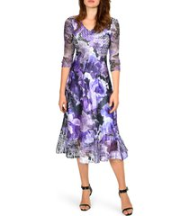 women's komarov floral chiffon & charmeuse dress