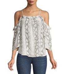 gwen snakeskin-print off-the-shoulder blouse