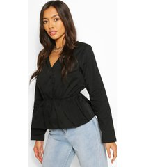 cotton v neck peplum blouse, black