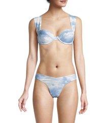 weworewhat women's claudia cloud print bikini top - powder blue - size m