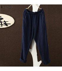 s-5xl zanzea pantalones de harén para mujer piernas anchas pantalones casuales de gran tamaño tallas grandes -azul