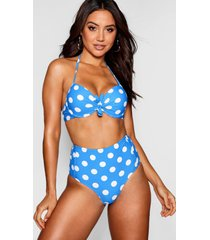 mix and match spot underwired push up plunge bikini top, blue
