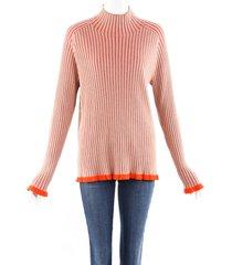 burberry orange cashmere wool rib knit sweater brown/orange sz: l
