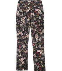 5-pocket style-broek met trendy bloemenprint, zwart-motief 42