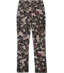 5-pocket style-broek met trendy bloemenprint, zwart-motief 40