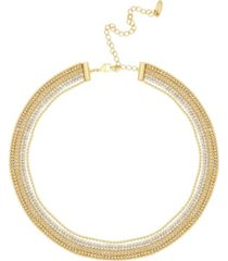ettika crystal and gold plated multi-chain necklace