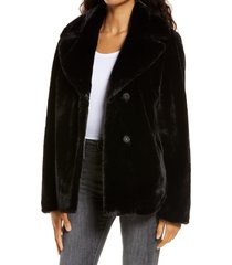 women's ugg rosemary faux fur jacket, size medium - black